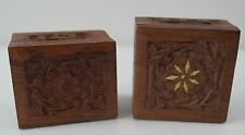 Small Vintage Antique Carved Wooden Boxes 1 with Inlay Inlaid Design Lot of 2