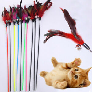 1PC Cat Feather Wand Stick Teaser Kitten Toy Dangle Bell Interactive Play Toys