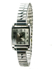 INFINITY: WOMENS' STAINLESS STEEL STRETCH BAND SMALL SQUARE CASE BATTERY WATCH