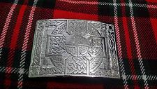 Highland Kilt Belt Buckle Cross Knot Work Chrome Finish/Celtic Kilt Buckle