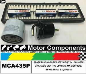 SPARK PLUG & FILTER KIT for DAIHATSU CHARADE CENTRO EF-GL 659cc 3/95>12/97