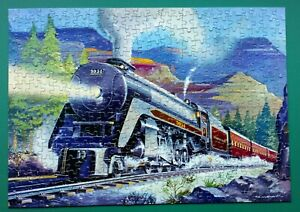 """1950s GOOD COMPANION JIGSAW PUZZLE """"THROUGH THE ROCKIES"""" TRAIN COMPLETE 400 PCES"""