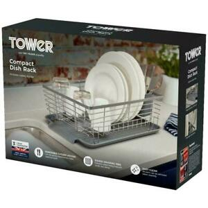 Tower Compact Dish Rack/Cutlery Holder, Steel Construction Draining Prongs, Grey