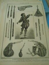 Gravure 1876  La Collection de M.A. Jubinal Cithare Pochette violon éventail etc