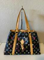 LOUIS VUITTON MONOGRAM AURELIA MM BLACK MULTICOLOR SHOULDER TOTE BAG