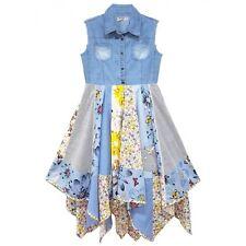 Girls Denim Patchwork Hanky Dress New Kids Sleeveless Party Dresses 3-11 Years