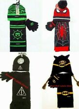 CHILDREN BOYS MINECRAFT/SPIDER-MAN /HARRY POTTER/BATMAN SCARF HAT&GLOVES SET