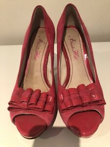 Alannah Hill Shoes Heels Stiletto Hot Pink Statement Leather Size 38