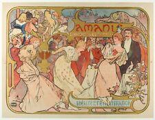 Affiche Originale - Mucha - Les Amants - Bernhardt - Belle Epoque - 1895