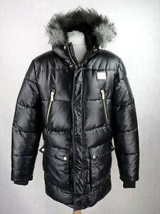 Men SUPPLY & DEMAND Padded Puffer Jacket Size M Black Fur trim Hood Faux Leather