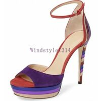 Women Stiletto High Heel Sandals Open Toe Anke Strap Summer Party Platform Shoes