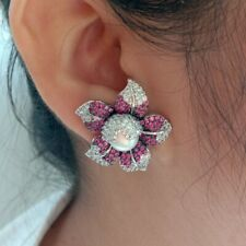 Pave Pearl Earrings White Gold Plated White Pearl Cz Flower Stud Earrings Cz
