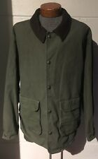 Woolrich Barn Coat Army Green with Leather Collar Mens XL 100% Cotton Shell