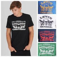 Mens Levi's Classic 2 Horse Pull Logo Solid Crewneck Short Sleeve Tee T-Shirt