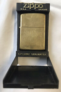 solid brass Marlboro zippo lighter 1932-1989. , With box