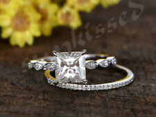 2.07Ct White Princess Solitaire Studded Ring With Band 925 Sterling Silver Ring