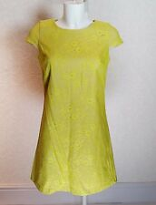Mini Vestido Jane Norman Verde Lima Encaje Corto De Cuello Redondo Túnica una línea Falda talla.10