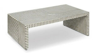 Handmade bone Inlay Stripe Design Coffee Table
