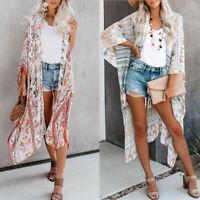US Summer Womens Boho Bikini Cover Up Kimono Cardigan Blouse Long Sunscreen