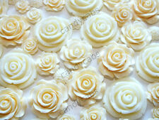 CandyCabsUK 20Pcs Mixed Ivory Flowers Cabochon DIY CRAFT Decoden Flatback Resin