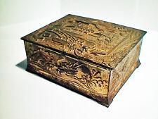 ANTIQUE 1920 METAL DRAGONS TEMPLE GARDEN KEEPSAKE JEWELRY BOX JAPAN EXCELLENT