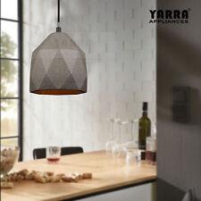 1LT Retro Concrete Pendant Light Diamond Shape Ceiling Cement Fixture Matt Black