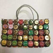 folk art vintage soda bottle cap tote basket with handles cool!