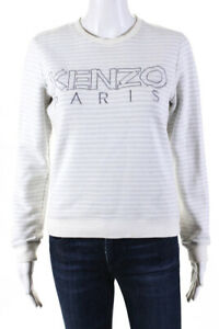 Kenzo Paris Womens Striped Logo Long Sleeve Pullover Gray White Size Medium
