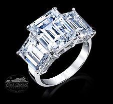 11 ct Three Stone Emerald Ring Vintage Top Russian CZ Moissanite Simulant Sz 8