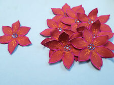 Set of 10 Flower Beaded Red Pink Orange Birthday Crafts Card Making Motif #17R93