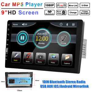 """9"""" 1DIN Car MP5 Touch Player Host Bluetooth Stereo FM Radio USB AUX Mirror Link"""
