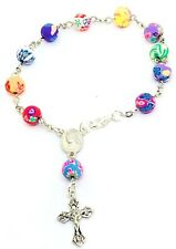 Colourful  Rosary Decade Stunning Bracelet Handmade Gift First Holy Communion