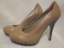 ALDO Tan Stiletto Pumps Sz 8/39 Gold/Bronze Studs Around Toe