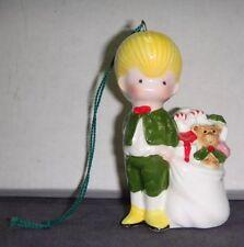 Vintage 1978,1979 Joan Walsh Anglund Porcelain Boy Next to Bag of Toys Ornament