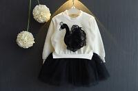 Cinda Girls Long Sleeve Black Swan Tutu Rara Dress in Red White 3 4 5 6 7 8 Year