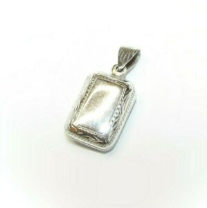 Solid silver rectangle locket pendant