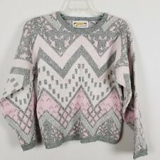 Just Cristina Vintage pink white and gray long sleeved sweater size small