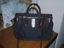 Dark Blue Dooney & Bourke Canvas & Leather Donegal Crest Tote Purse & Pouch