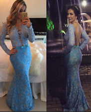 Long Sleeve Lace Prom Dresses 2018 Mermaid Evening Gowns Women Dress Size 2-26