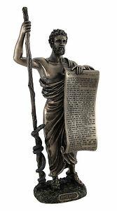 Bronzed Hippocrates (Father of Medicine) Statue Holding Hippocratic Oath