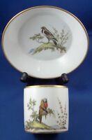 Antique French Paris Porcelain Bird Scene Cup & Saucer Porcelaine Vieux Tasse