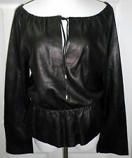 NWT COACH Womens Genuine Leather Long Sleeve BLACK Peasant Top Shirt NEW Size 10