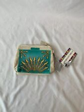 NWT THURSDAY FRIDAY IVORY/TEAL/GOLD ZIP TOP MAKE UP BAG TRAVEL POUCH CANVAS