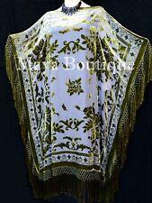 Kaftan Dress Fringe Kimono Olive & Gray Silk Burnout Velvet Maya Mataza
