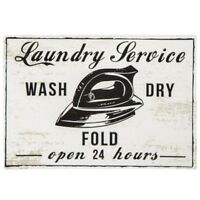 Vintage Style Laundry Room Wall Decor Wash Dry Fold Metal Sign Plaque
