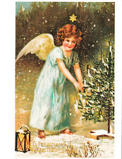 Christmas eagle winged Angel with Christmas repro Tree Russian modern postcard