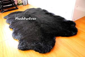 "Large Sheepskin Rug 84"" Lodge Cabin Primitive Luxurious Faux Fur Throw Rugs New"