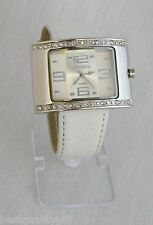 NEW BIJOUX TERNER WOMEN'S WHITE FAUX LEATHER BAND SILVER DIAL WATCH  # K12772
