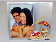 "4"" X 6"" Beach Theme 3D Desktop Photo Frame ~ Brushed Metal Bezel ~ FR-745"