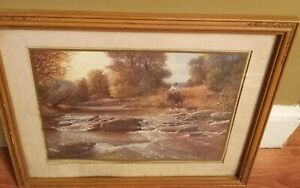 home interior man cowboy on horse  beautiful picture Stream River 22x18
